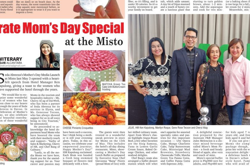 Mothers Day at Seda, my published article in SunStar Davao