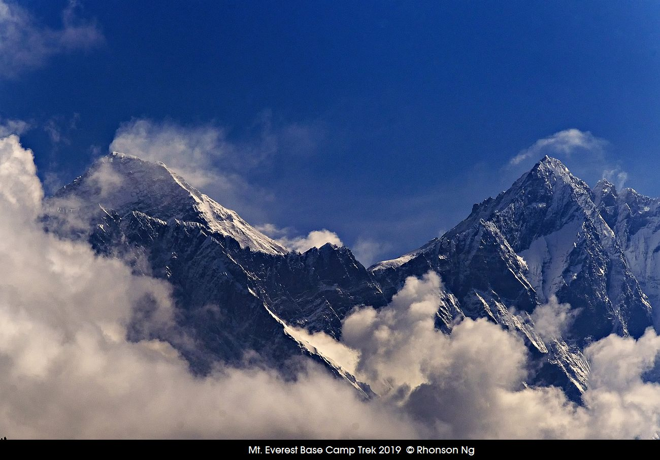 Everest peak with white caps fronted by Lhotse mountain